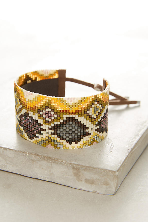 Slide View: 1: Snake-Print Beaded Wrap Bracelet