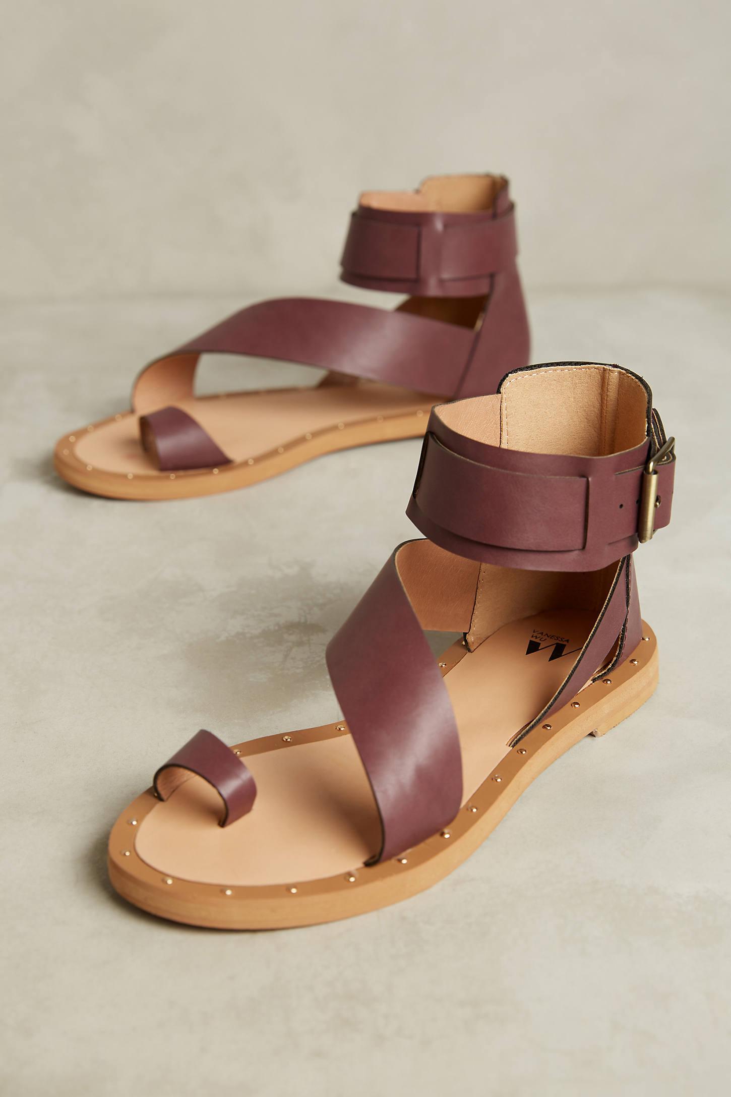 Vanessa Wu Plum Gladiator Sandals