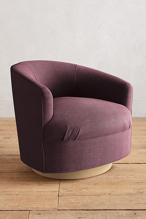 Slide View: 1: Basketweave Linen Amoret Swivel Chair