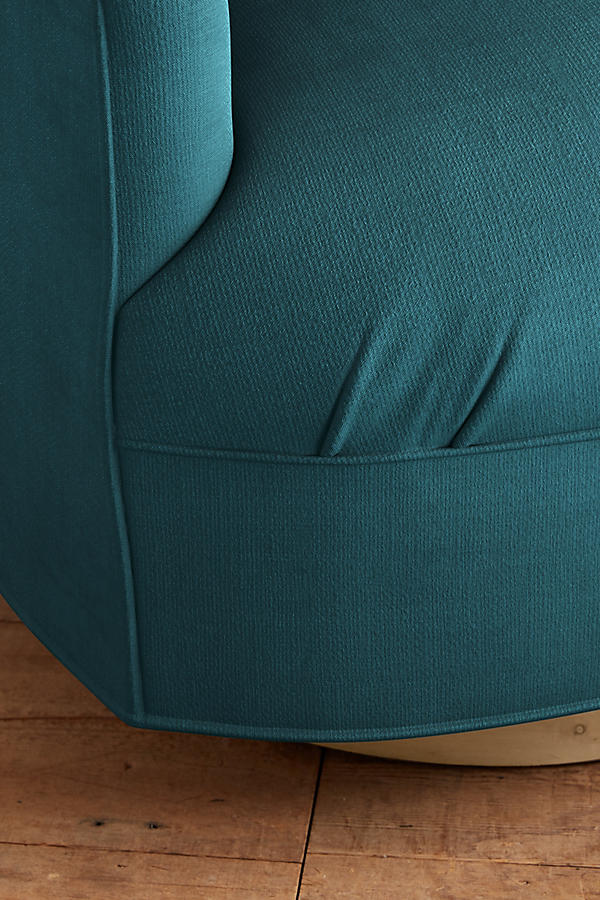 Slide View: 3: Belgian Linen Amoret Swivel Chair