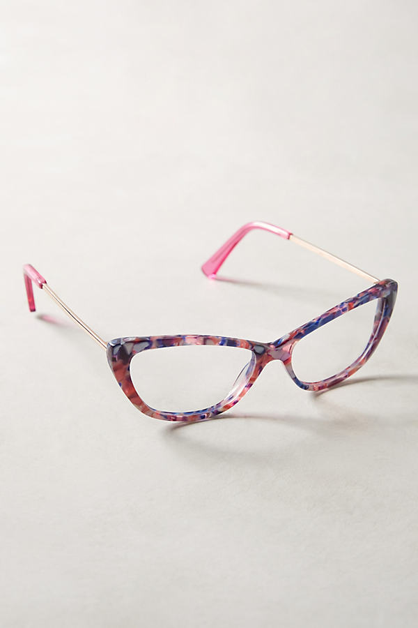 Ananda Cat-Eye Reading Glasses - Purple Motif, Size 1.50X