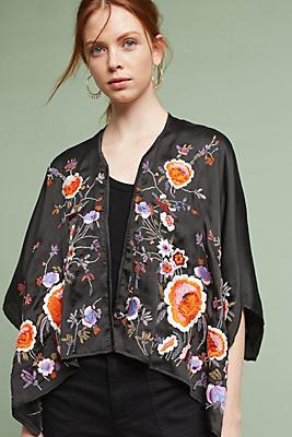 Slide View: 1: Embroidered Perennials Kimono