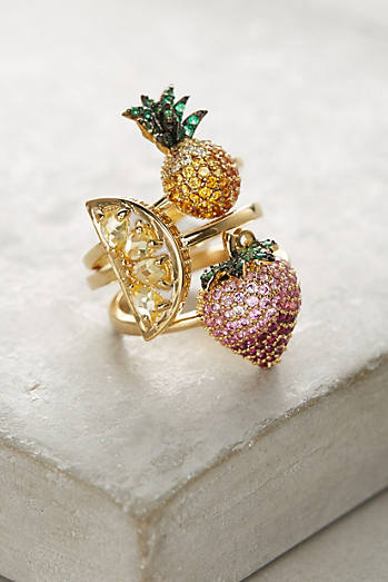 Tropical Fruits Ring Set