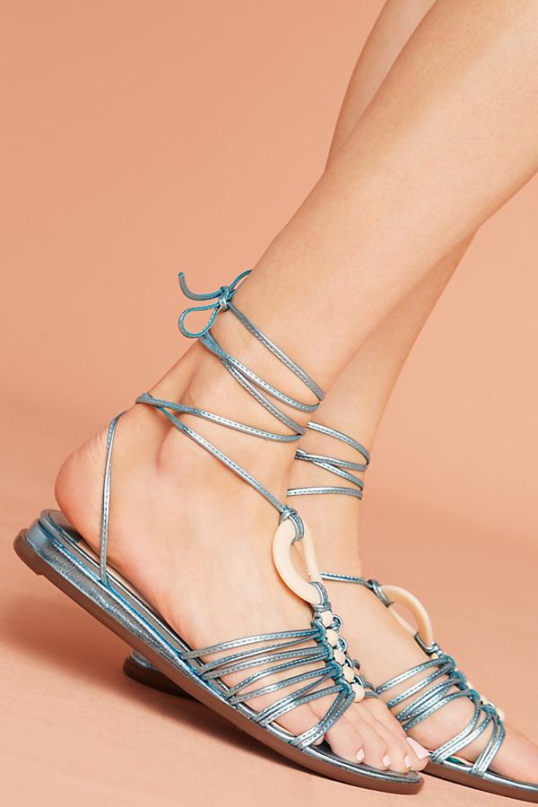Farylrobin Biloxi Gladiator Sandals - Blue Motif, Size 7 0700