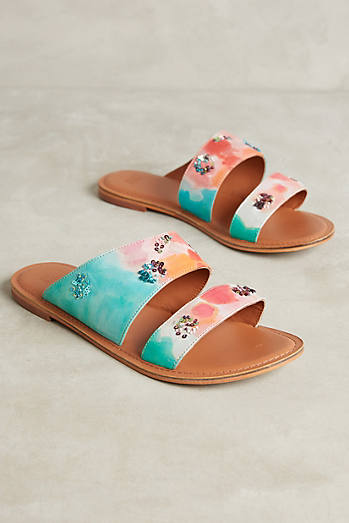 Jasper & Jeera Painted Watercolors Slide Sandals