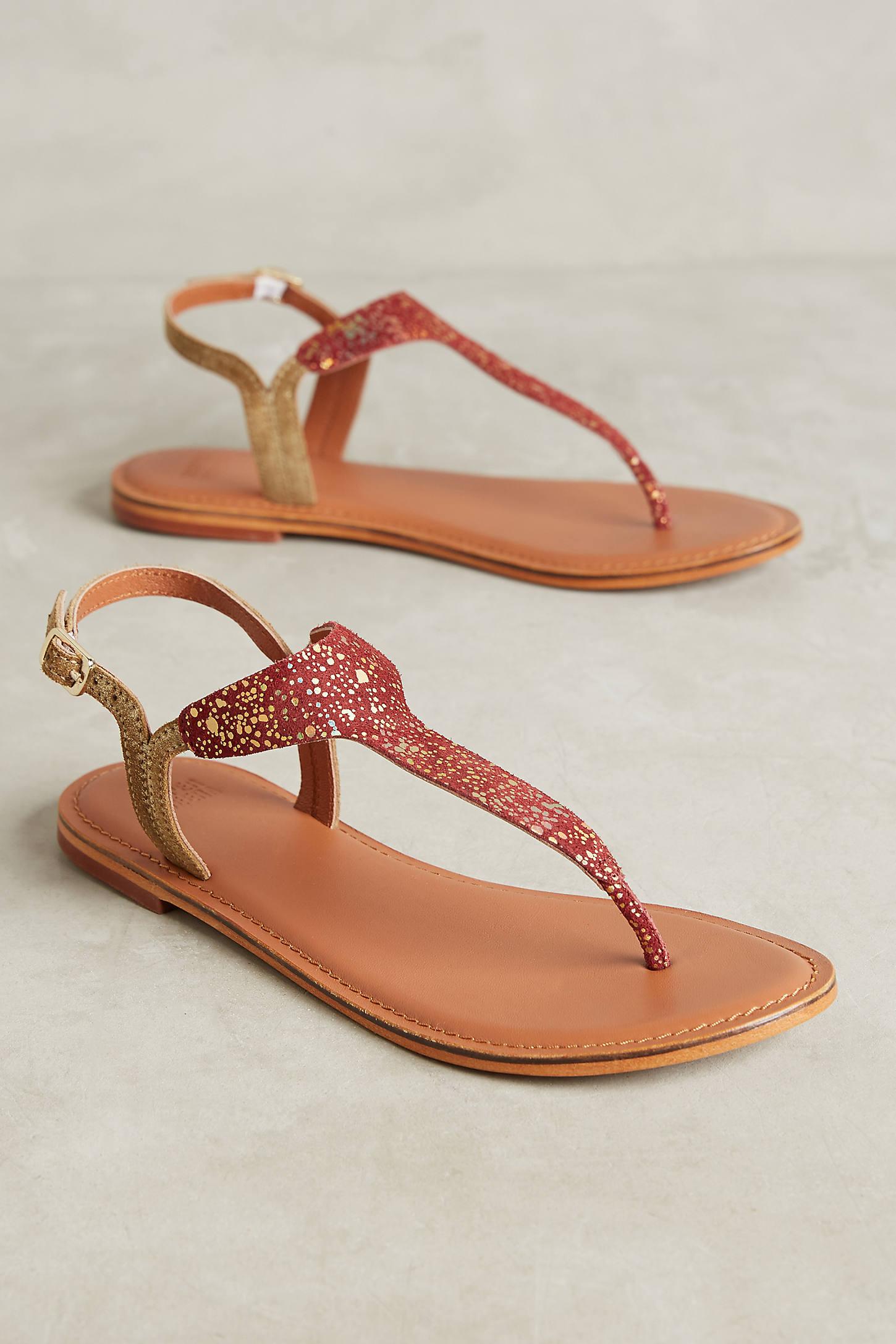 Tangerine Metallic Leather Sandals