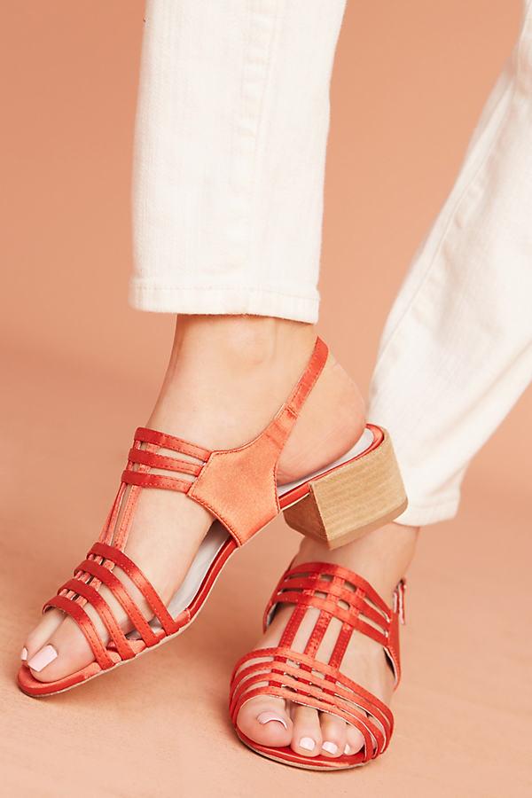 Lauryce Satin Sandals - Orange, Size 6 0600