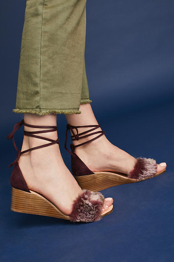 Slide View: 2: Fur Stack Wedge Sandals, Wine