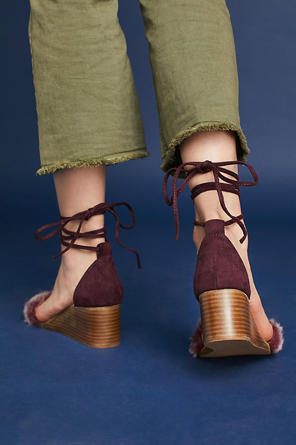 Slide View: 3: Fur Stack Wedge Sandals, Wine
