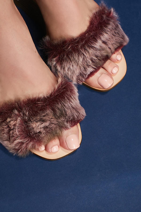 Slide View: 4: Fur Stack Wedge Sandals, Wine