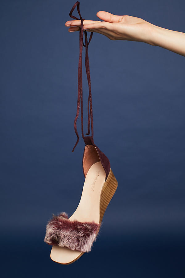 Slide View: 5: Fur Stack Wedge Sandals, Wine