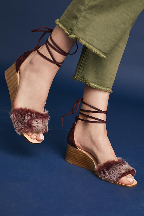 Slide View: 1: Fur Stack Wedge Sandals, Wine
