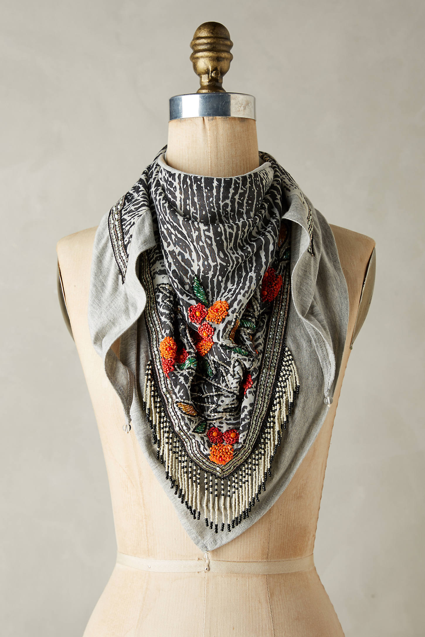 Beaded Florals Scarf