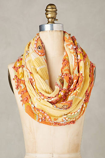 Embroidered Canary Infinity Scarf