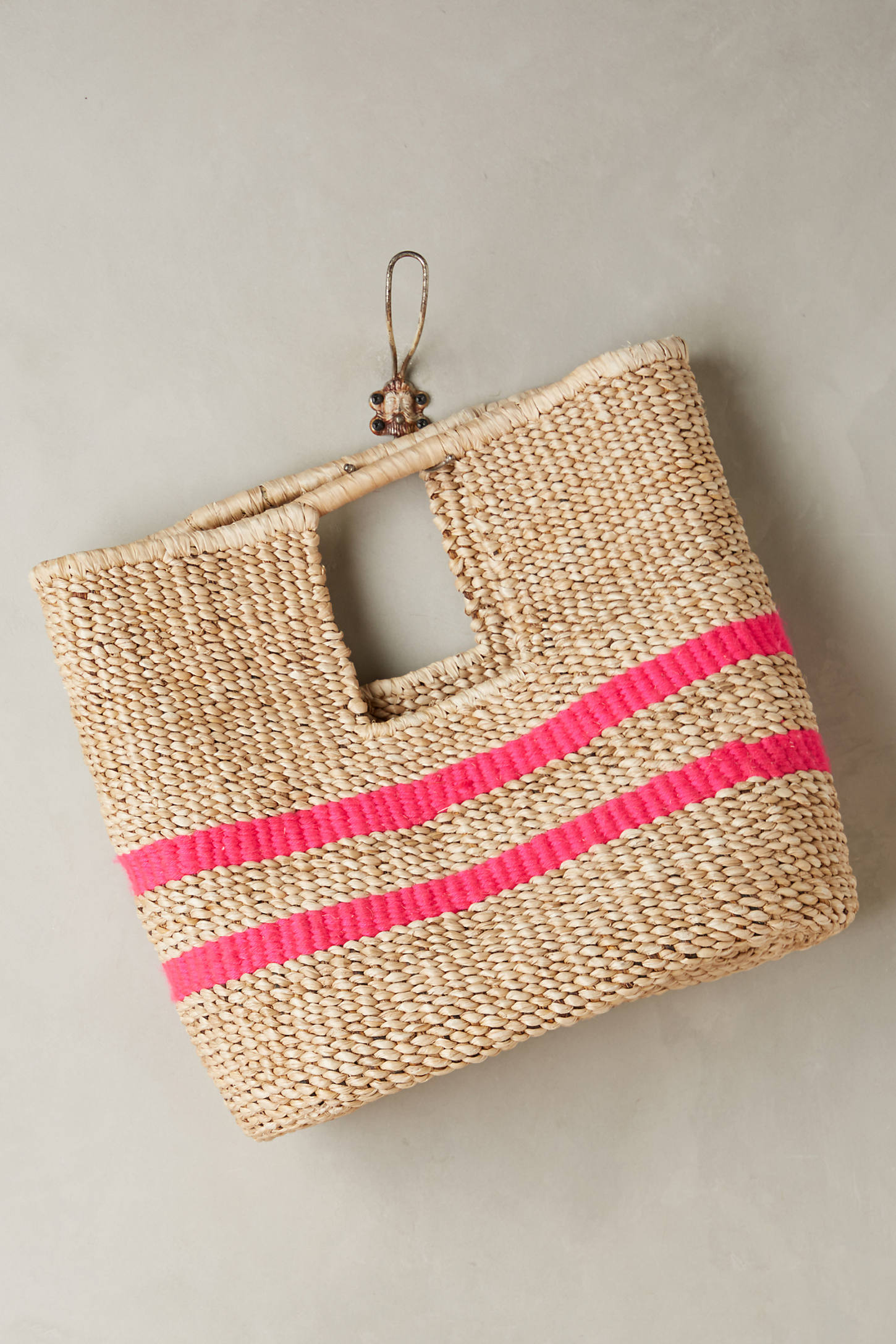 Fuschia-Striped Straw Bag