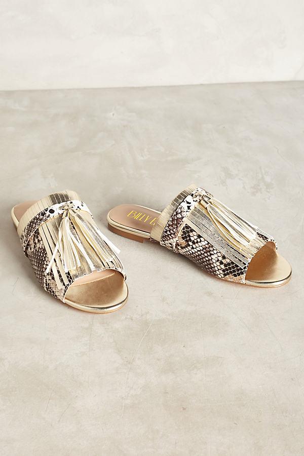 Ela Metallic Fringed Slides - Gold, Size 9.