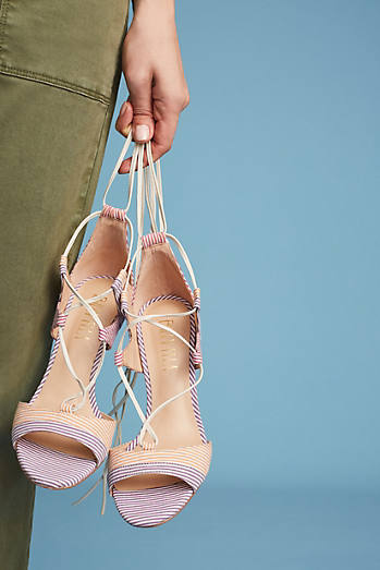 Billy Ella Striped Lace-Up Heels
