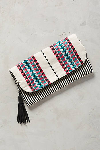 Pink Striped Clutch