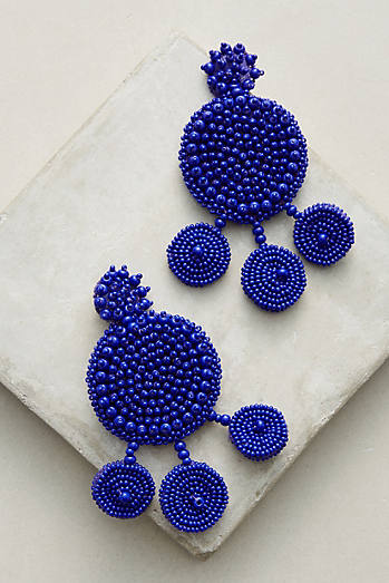 Flamenca Navy Beaded Drop Earrings