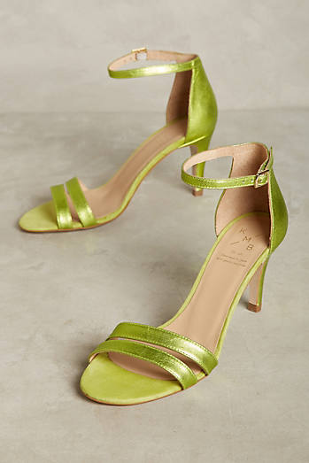KMB Metallic Lime Heeled Sandals