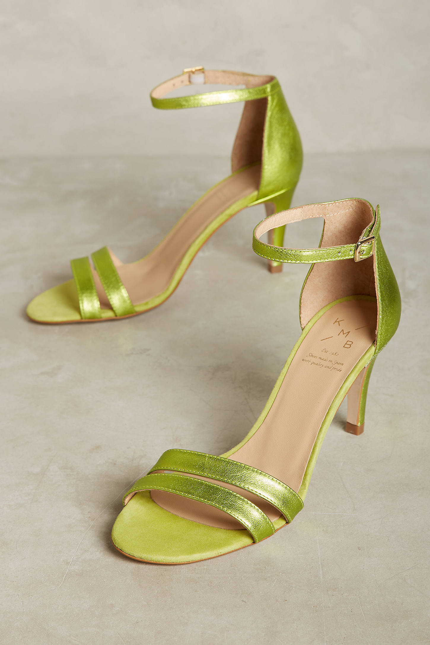KMB Metallic Lime Heeled Sandals