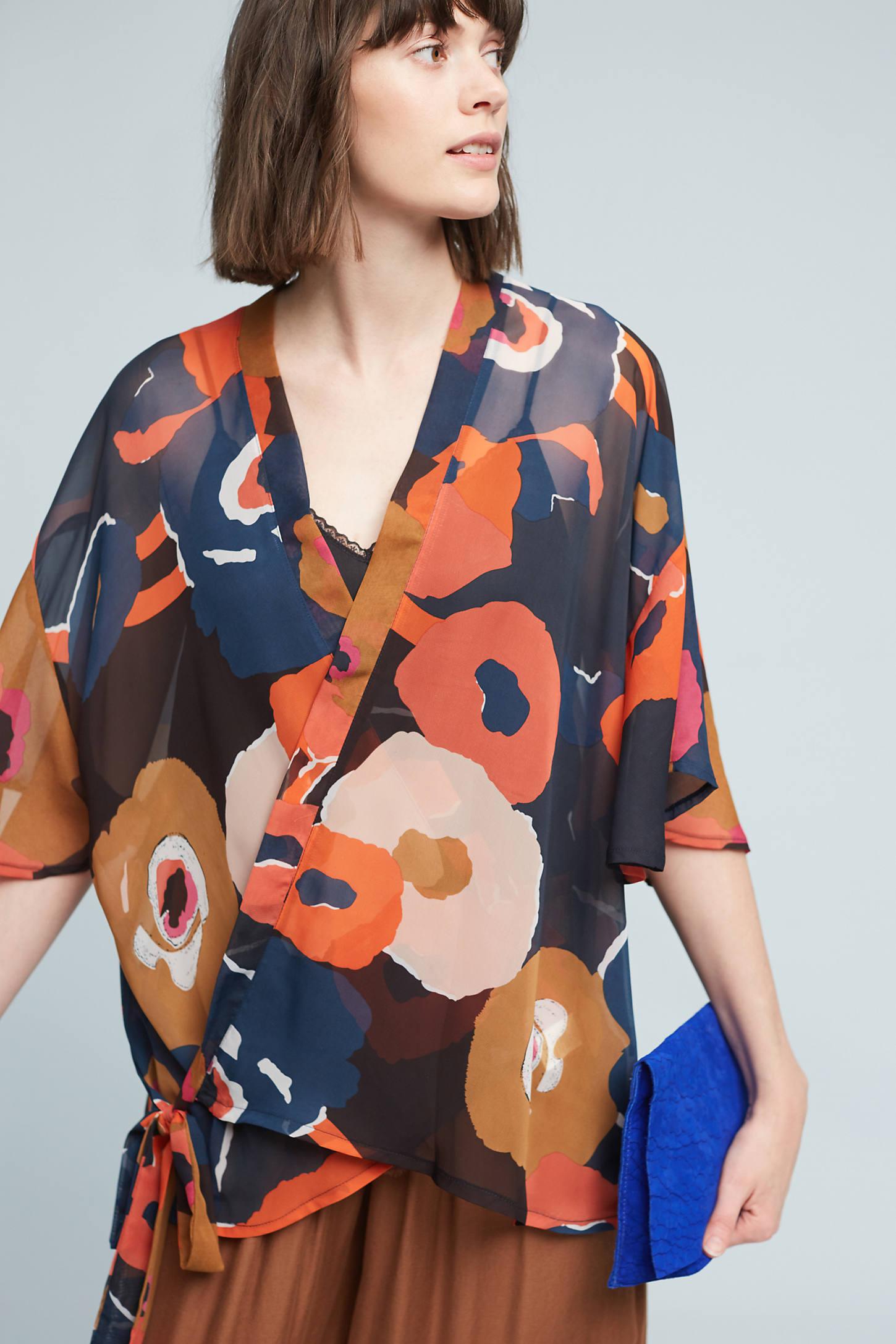 Abstract Daisies Kimono