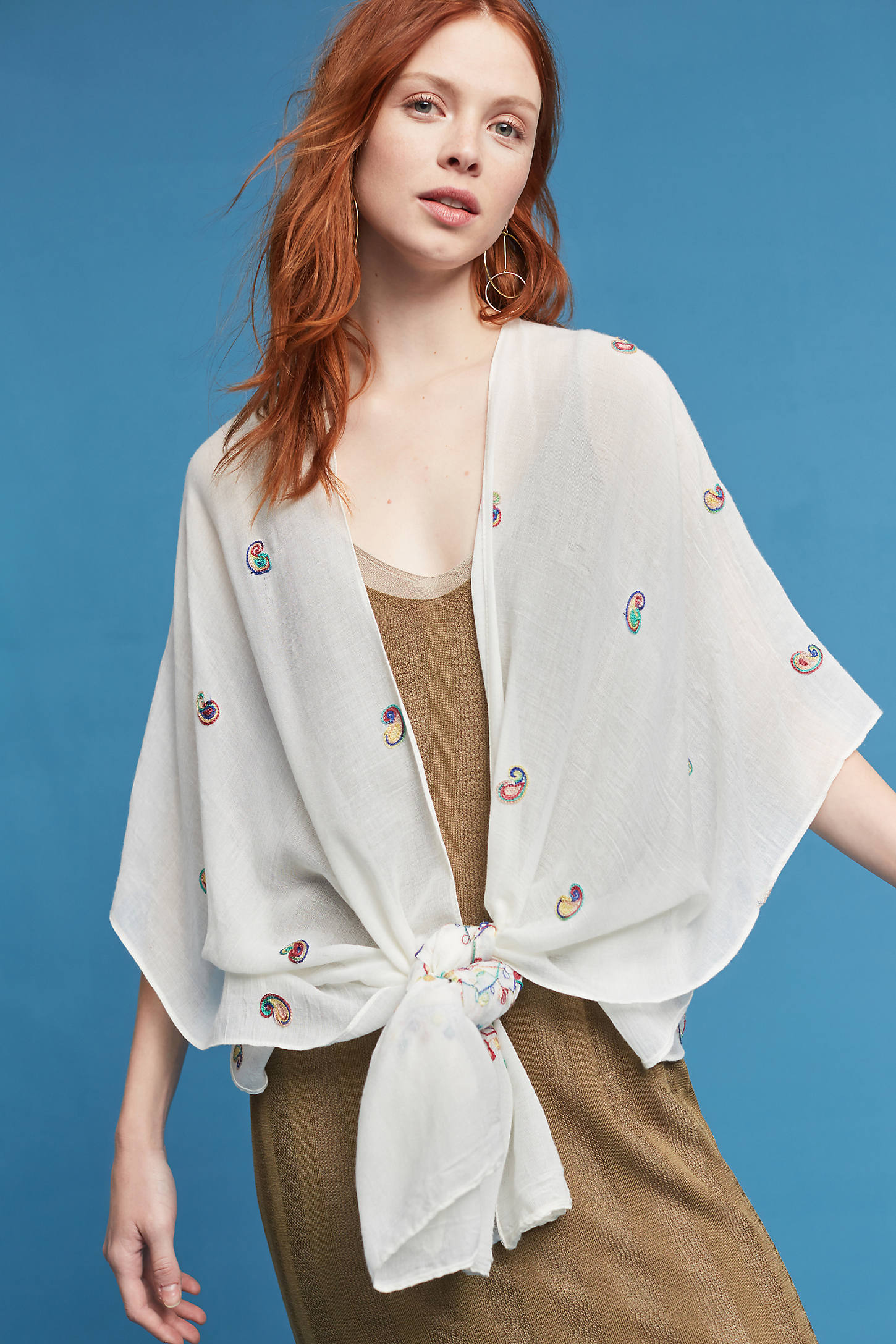 Embroidered Paisley Kimono