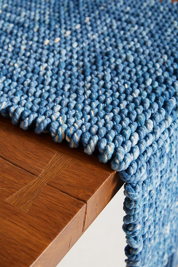 Slide View: 2: Tufted Indigo Table Runner