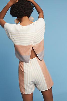 Slide View: 1: Striped Linen Romper