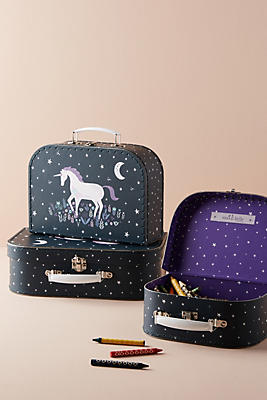 Slide View: 1: Unicorn Suitcase Storage Set