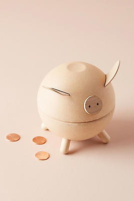 Slide View: 1: Wooden Piggy Bank