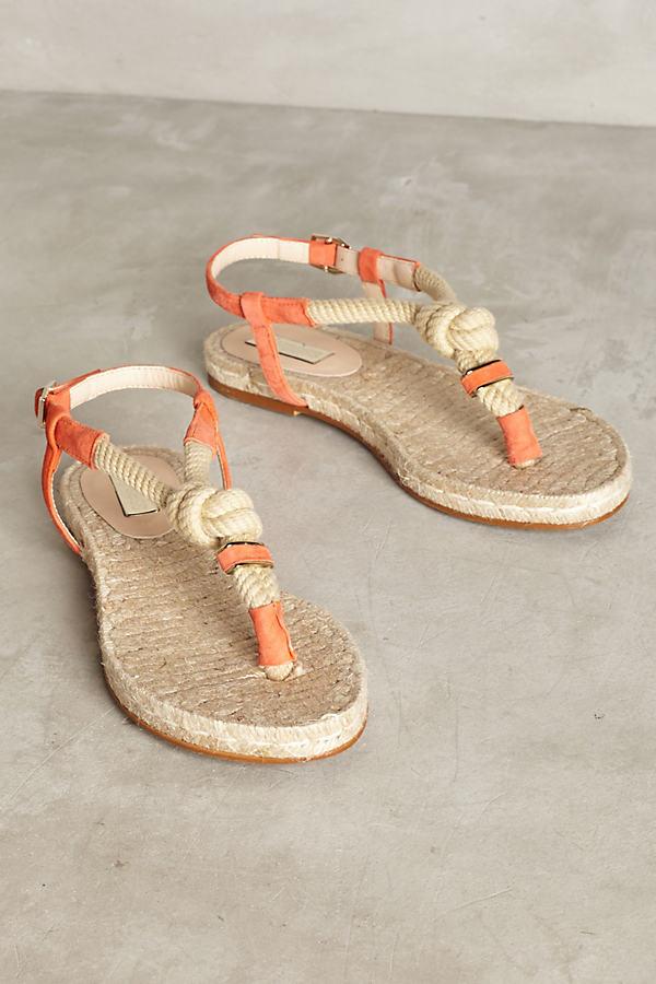 Elysess Rope Thong Sandals - Orange, Size 40