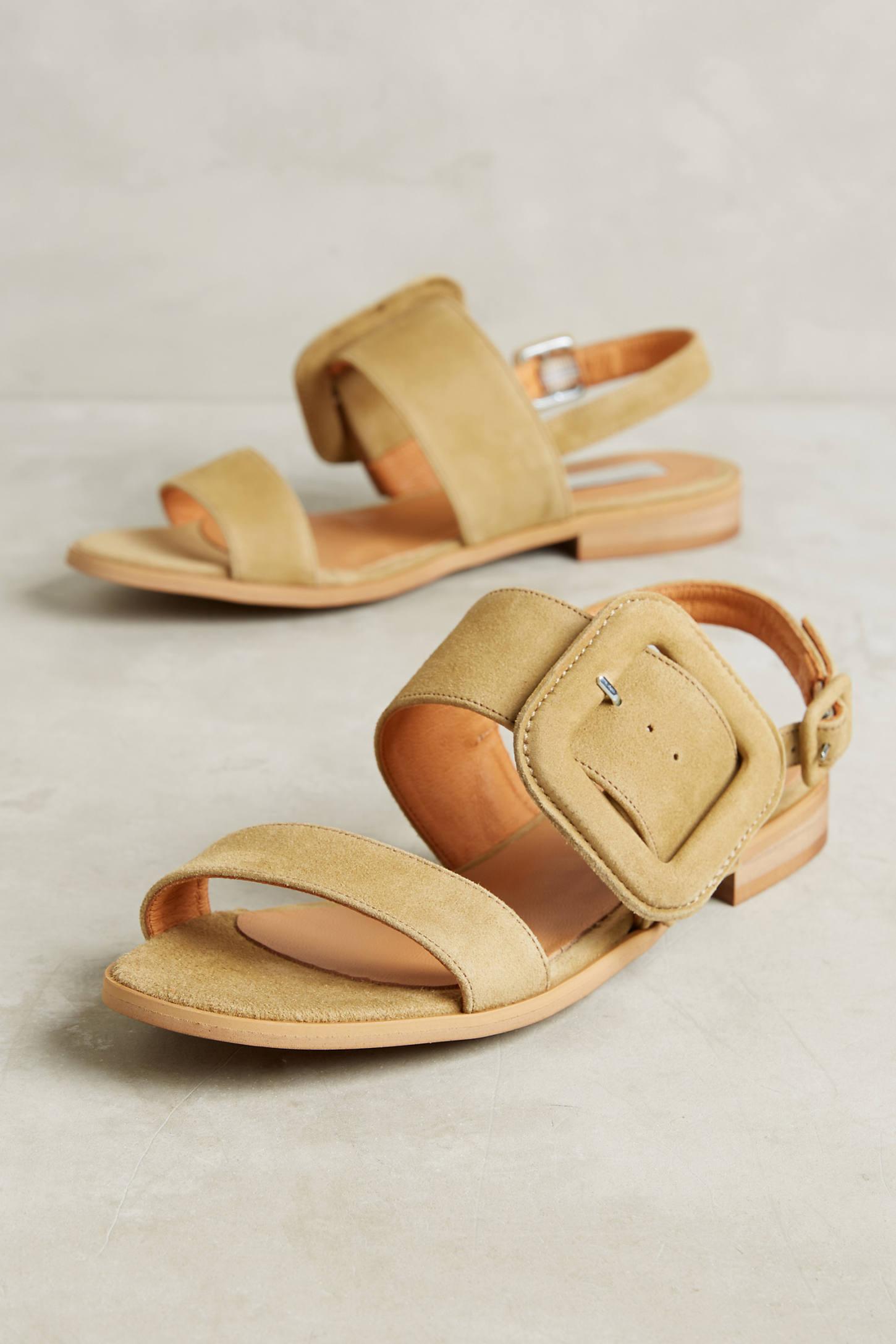 Elysess Suede Khaki Sandals
