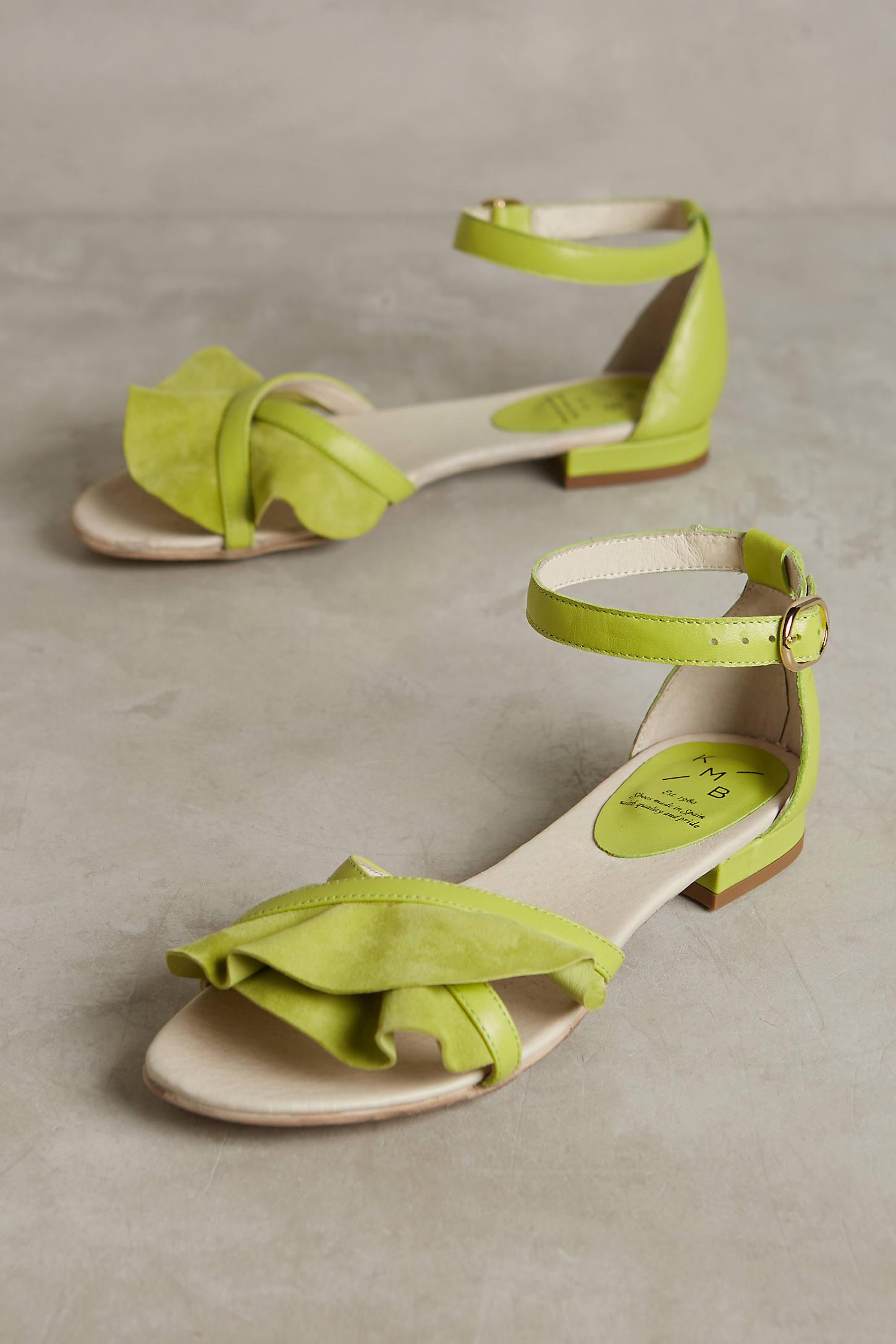 KMB Ruffled Cross-Strap Sandals