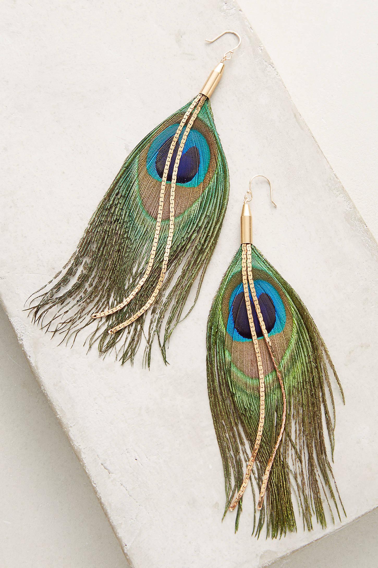 Peacock Feather Drop Earrings