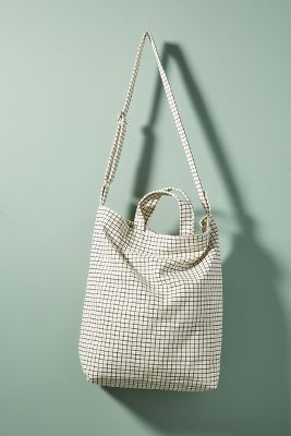 Baggu   Sailor Stripes Tote Bag  -    Natural Grid