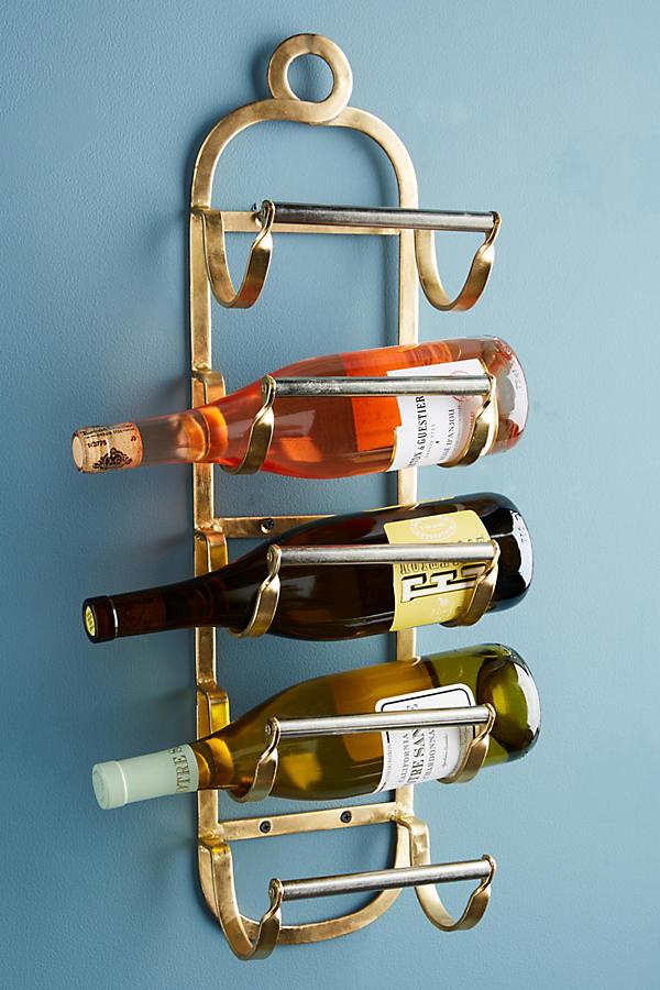 Slide View: 1: Antique Brass Wine Rack