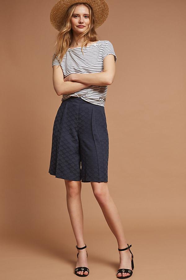 Gloria Jacquard Bermuda Shorts, Blue - Navy, Size Uk 6