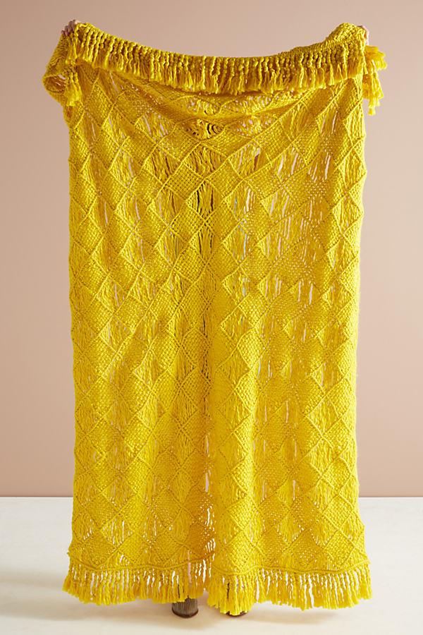 Macrame Throw Blanket - Yellow