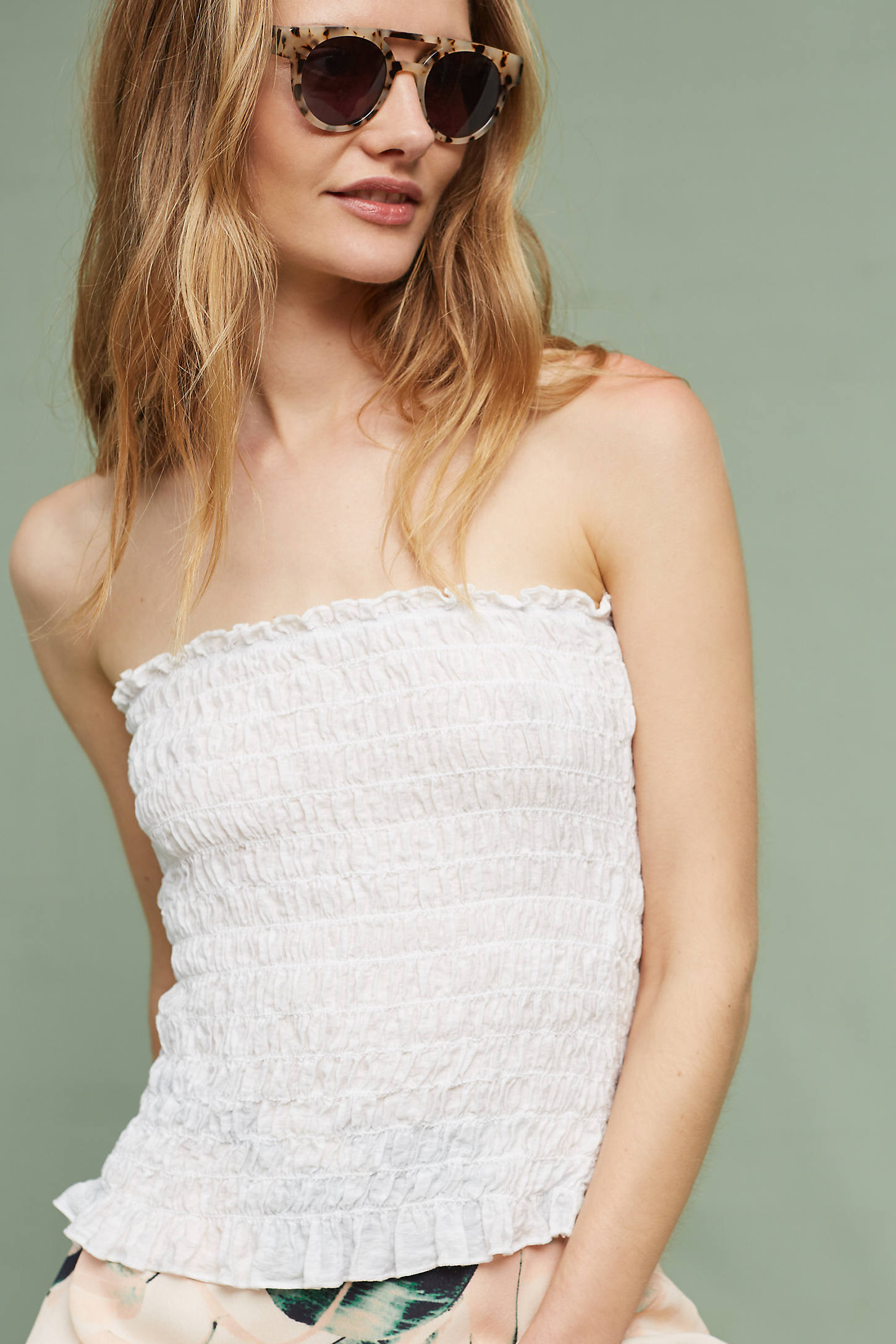 Smocked Strapless Top