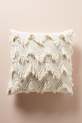 Slide View: 1: Fringed Chevron Pillow