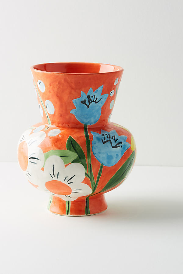 Bold Blooms Vase - Orange