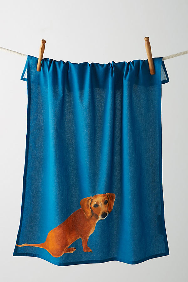Dog-a-Day Tea Towel - Navy, Size Dishtowel