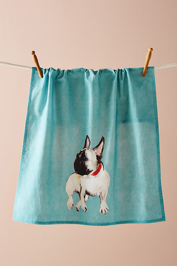 Dog-a-Day Tea Towel - Turquoise, Size Dishtowel