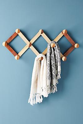 Slide View: 1: Wooden Accordian Hook Rack