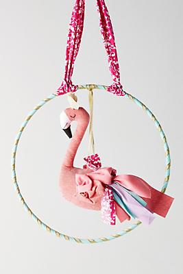 Slide View: 1: Fanciful Flamingo Wall Hanging