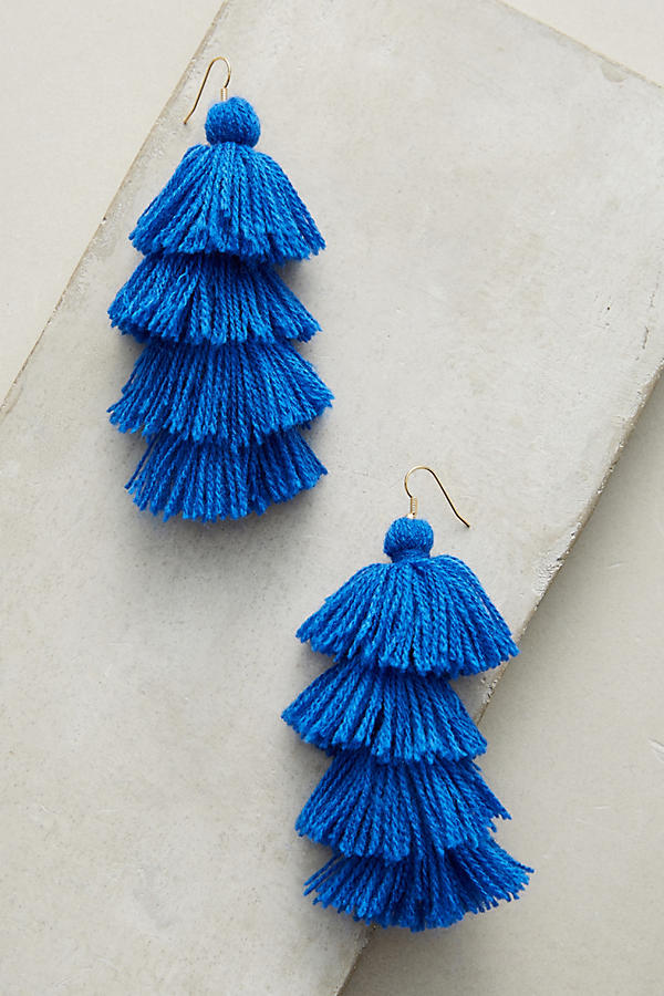 Slide View: 1: Boucles d'oreilles bleu royal