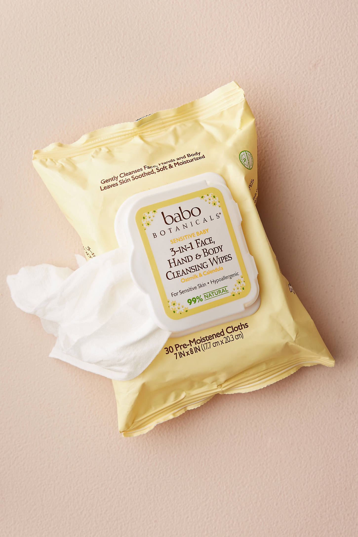Babo Botanicals 3-In-1 Face, Hands & Body Cleansing Wipes