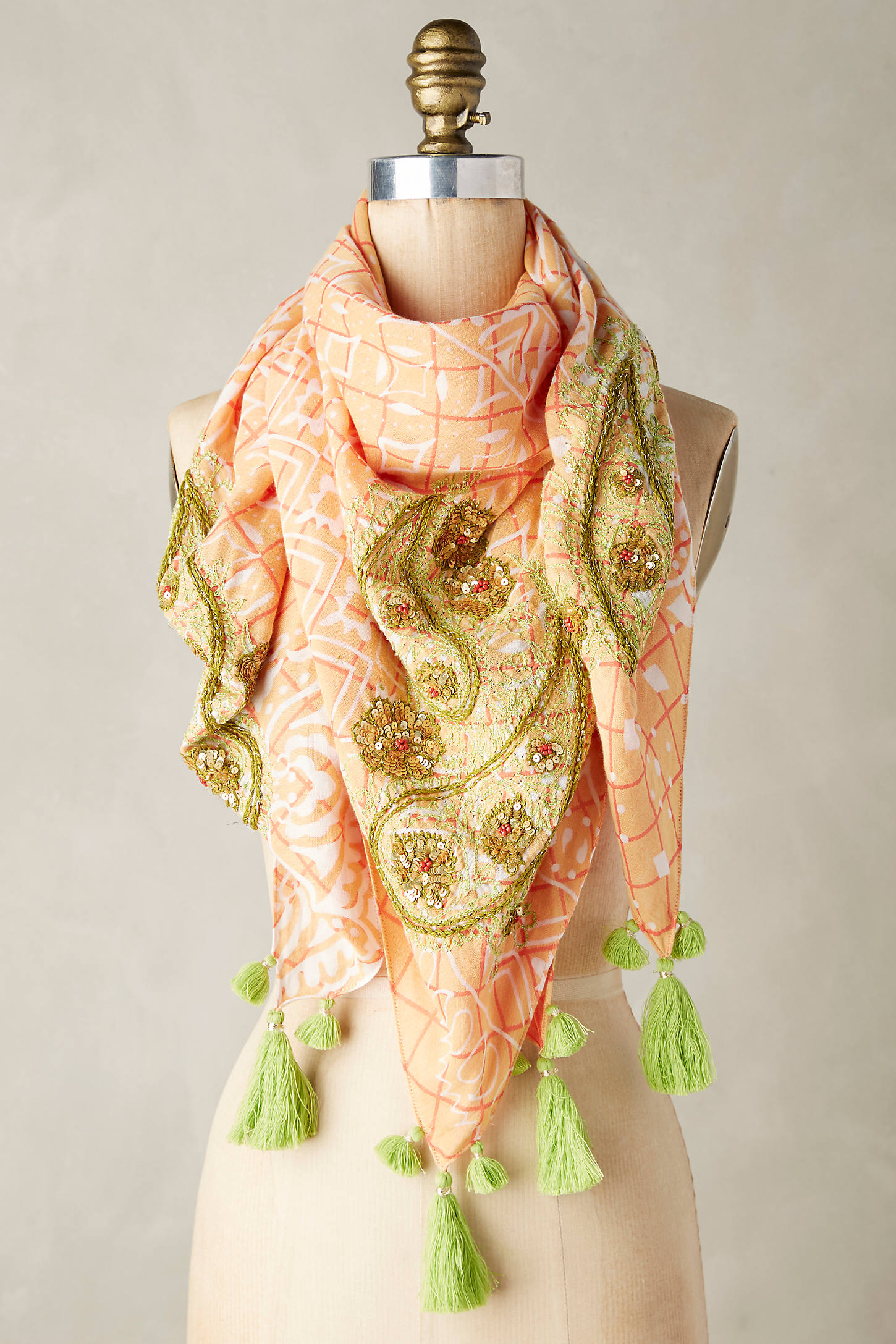 Embroidered Paisley Square Scarf