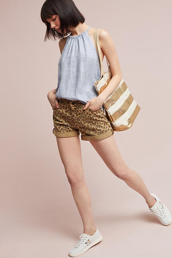 Pilcro Hyphen Leopard-Print Shorts - Brown Motif, Size 29